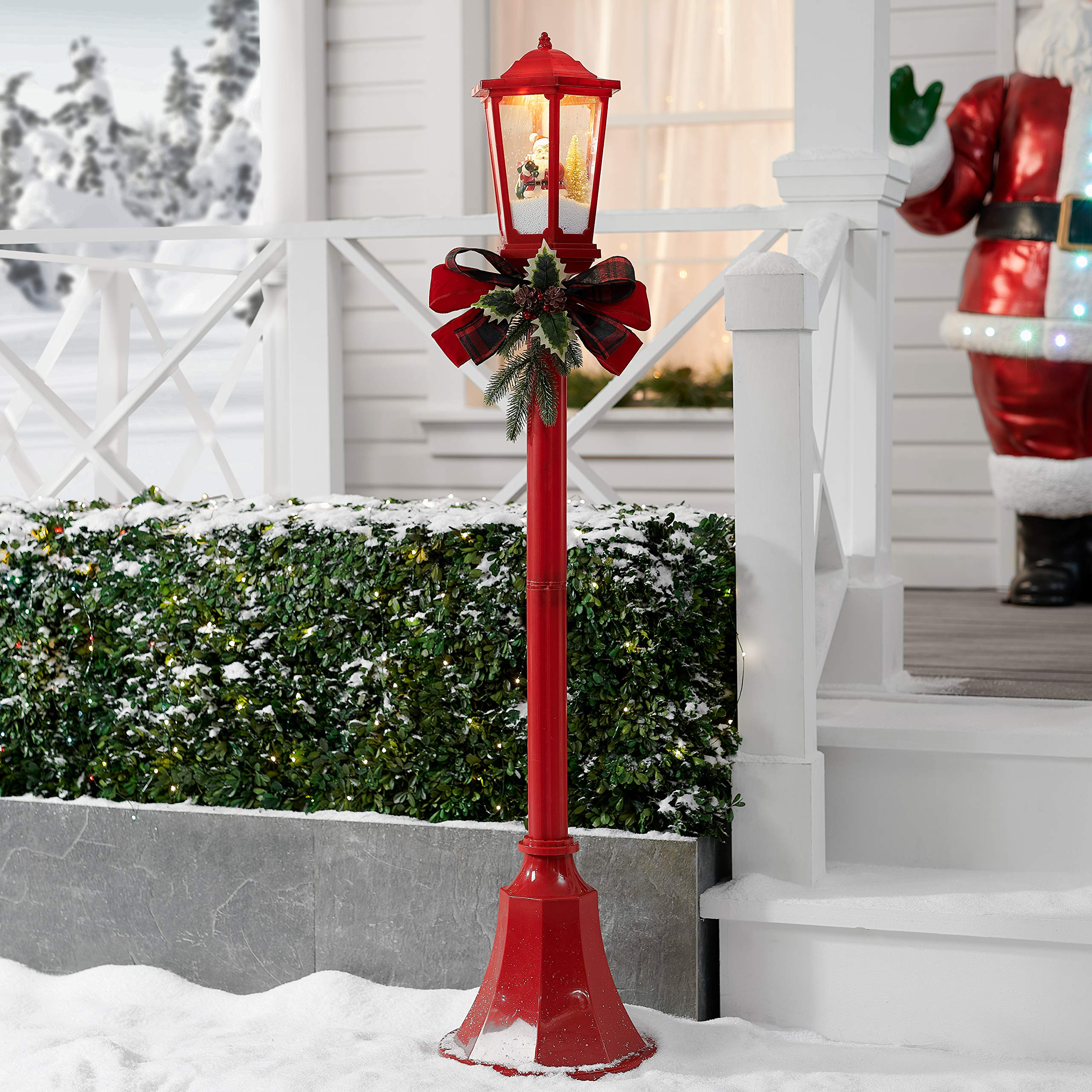 NH Bright,Attractive and Elegant 56'' Snow Blowing Santa Red Christmas Lamppost Decoration,Light up and Play Music,Plays a Variety of Holiday Melody Favorites to Get Everyone into The Christmas Spirit by NH