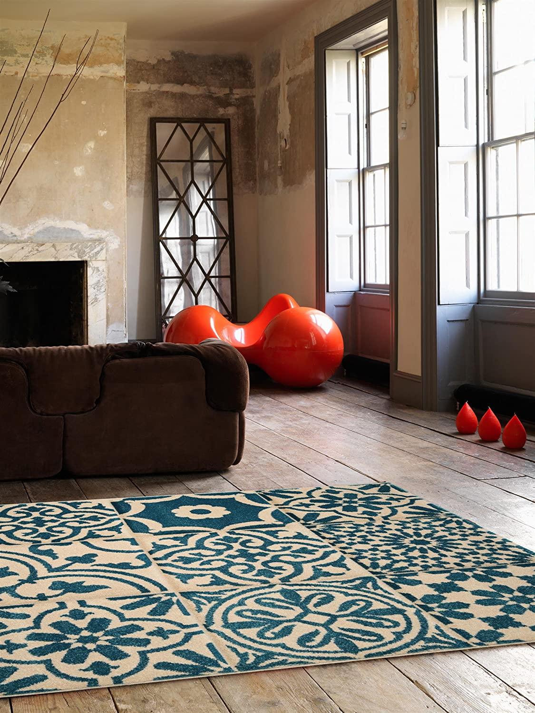 Benuta Teppich Patchwork-Mosaico Blau 80x150 cm   Moderner Teppich für Wohn- und Schlafzimmer