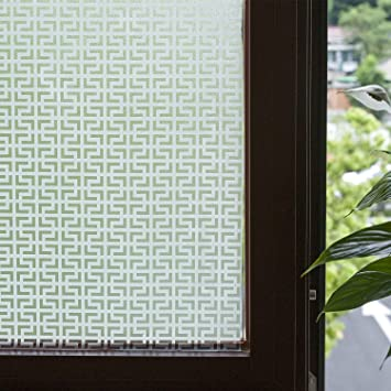 Fancy Fix Privacy Window Film Vinyl Non Adhesive Modern Etched Glass Window  Clings For