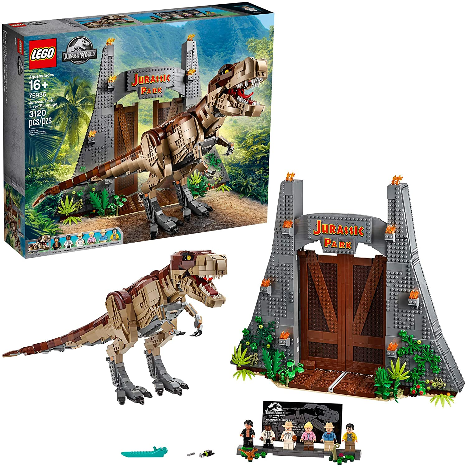 LEGO Jurassic World Jurassic Park: T. rex Rampage 75936 Building Kit, New 2020 (3120 Pieces)