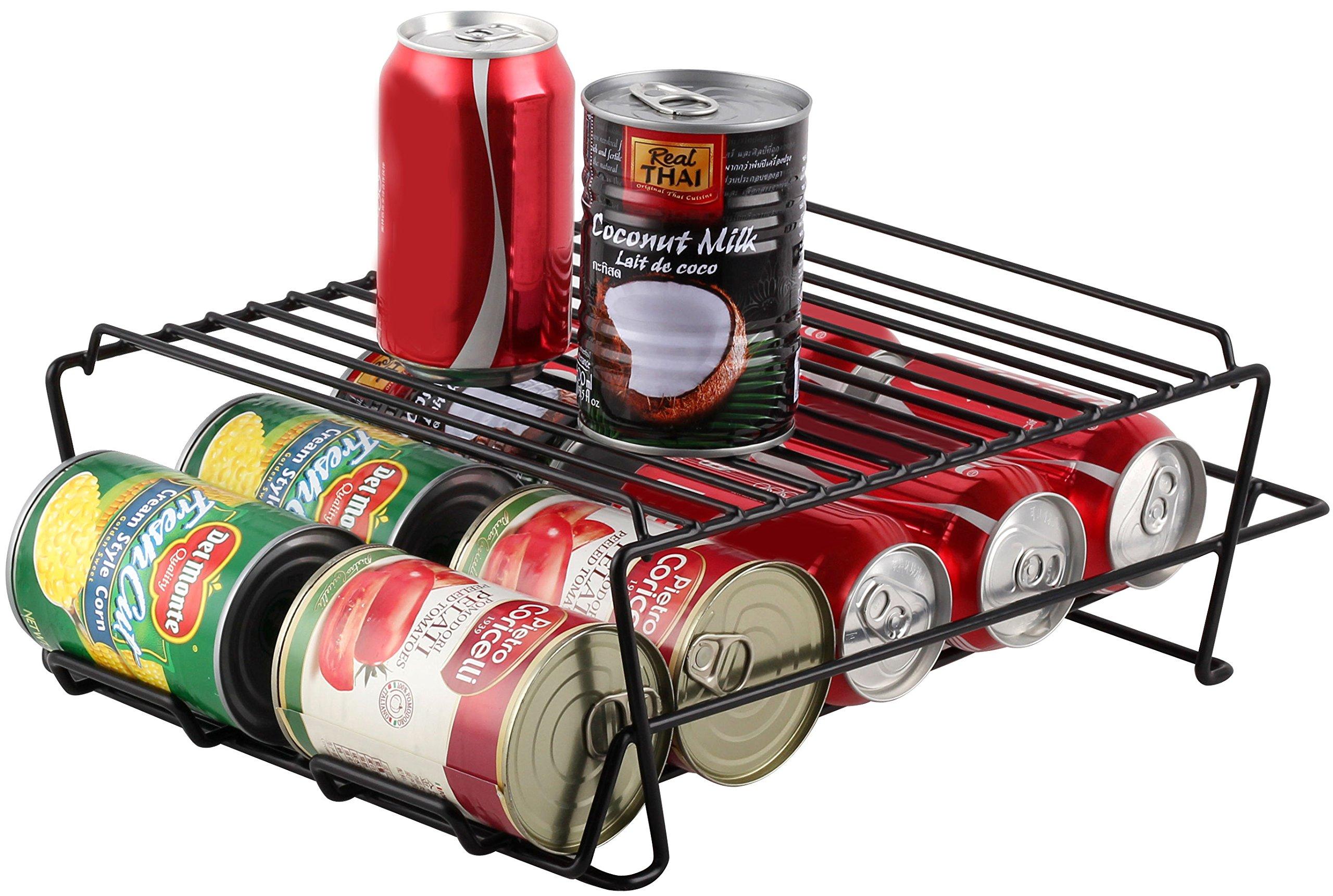 Stylish Sturdy Steel Can Beverage Dispenser Rack Organizer, Black (Dispenser ++)