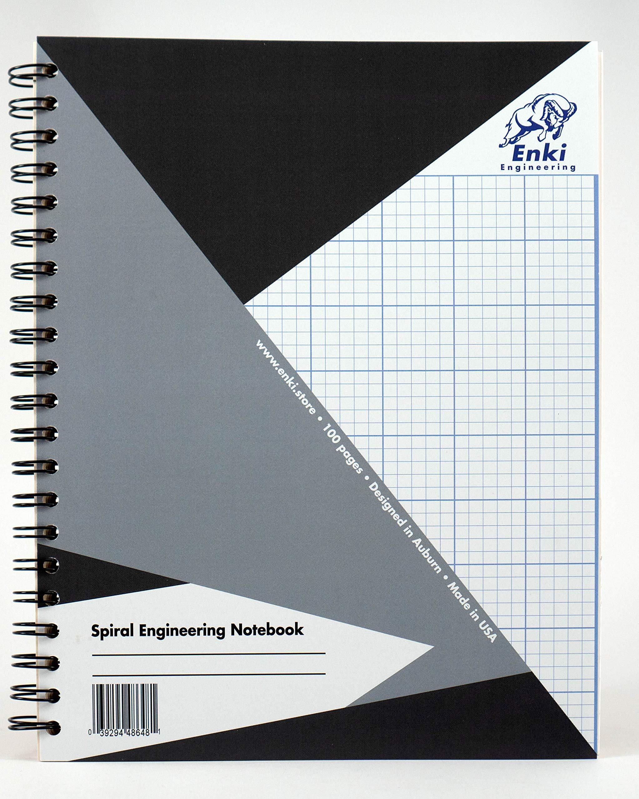 Engineering Paper 200 sheet - Spiral Notebook (Grey Cover) by Enki Engineering
