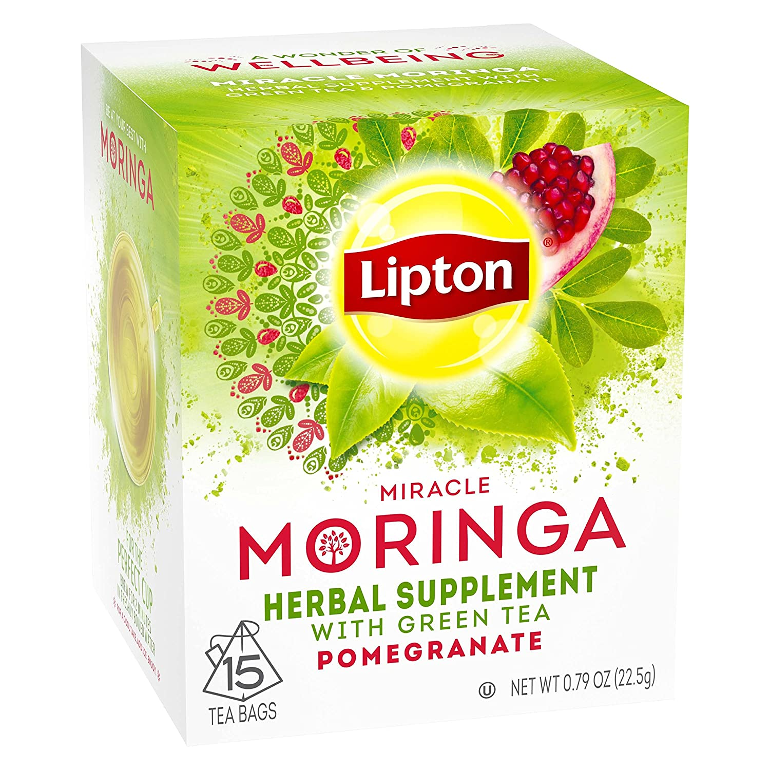 Lipton Herbal Supplement Tea Bags, Miracle Moringa with Green Tea and Pomegranate