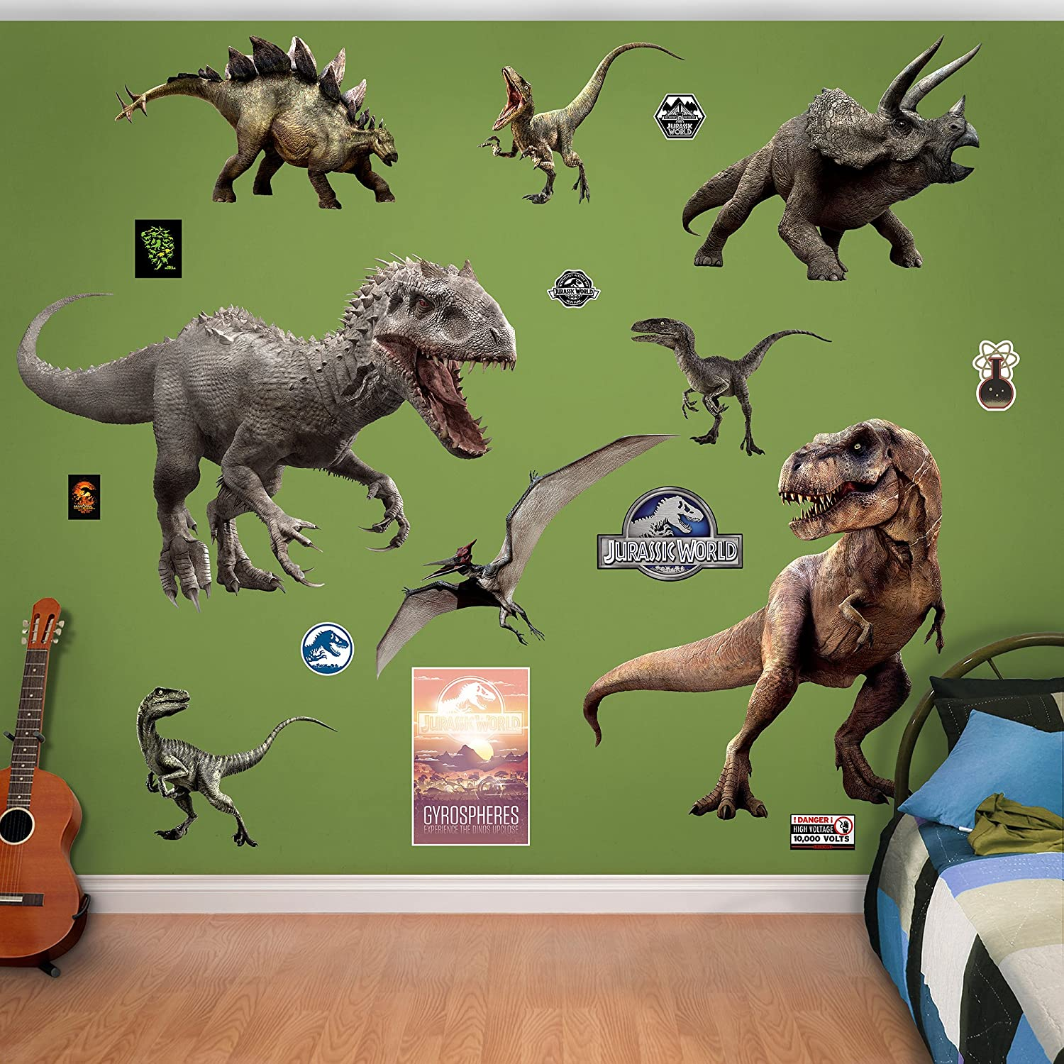 Amazoncom Fathead Jurassic World Dinosaurs Collection Real - 3d dinosaur wall decalsd dinosaur wall stickers for kids bedrooms jurassic world wall
