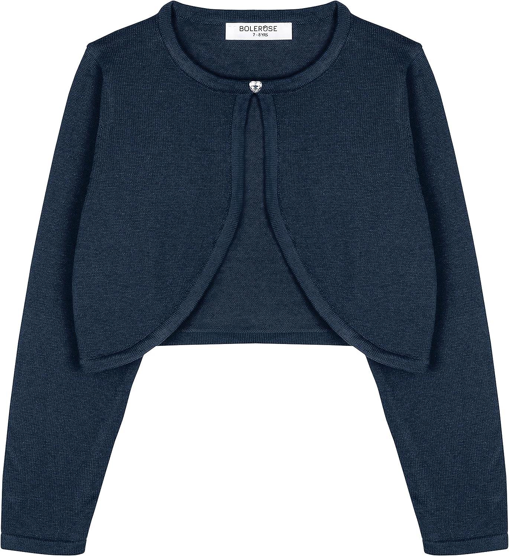 Bolerose Girls Long Sleeve Cardigan Childrens Kids Bolero Shrug: Clothing