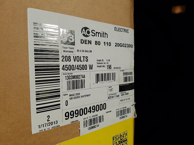 AO Smith 80 gallon 110 voltage water heater