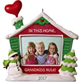 Hallmark Keepsake 2017 Grandkids Rule! Picture Frame Dated Christmas Ornament
