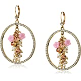 Betsey Johnson Marie Antoinette Mixed Multi-Charm Cluster Pave Gypsy Hoop Earrings