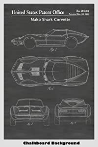 Mako Shark Corvette Concept Car Patent Print Art Poster: Choose From Multiple Size and Background Color Options