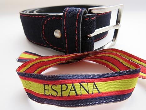 LEGADO Cinturón Hombre piel marino de cuero serraje marino costura en rojo hecho en Ubrique CON PULSERA BANDERA ESPAÑA DE REGALO: Amazon.es: Ropa y accesorios