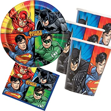 33 Piezas Party * Justice League Super Héroes * con plato + ...