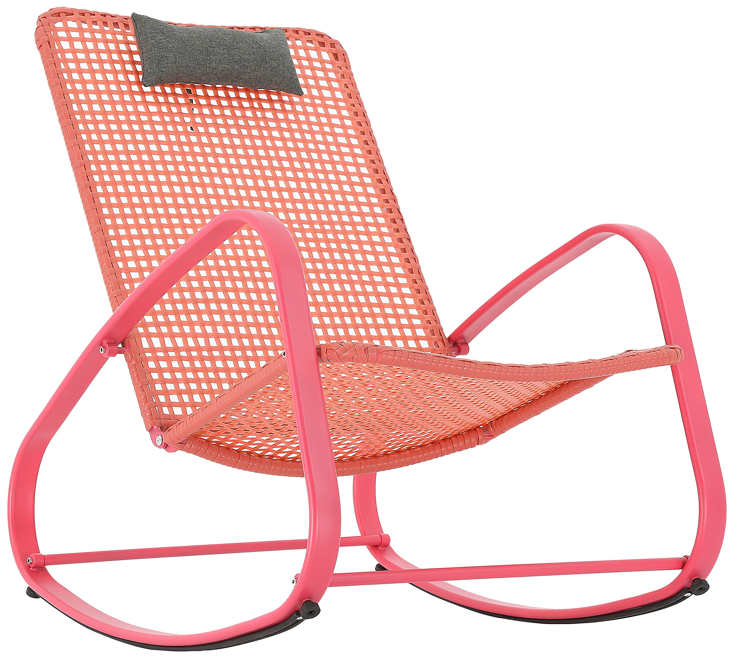 Baner Garden Indoor Outdoor Rocking Lounge Chair Porch Indoor Patio Headrest Furniture, Red (X62RD) - Made with Galvanized steel frame and PE rattan. Powder coated with UV protection The lightweight construction makes it especially easy to move around. Glide smoothly and quietly to give you ultimate outdoor relaxation. Very sturdy, support up to 300 lbs Ideal for outdoor use with its weather-resistant material and design. Particularly suitable for patio yards, gardens, porches, or indoors if you want. Brings you the best relaxation - patio-furniture, patio-chairs, patio - 91gyK1pkozL -