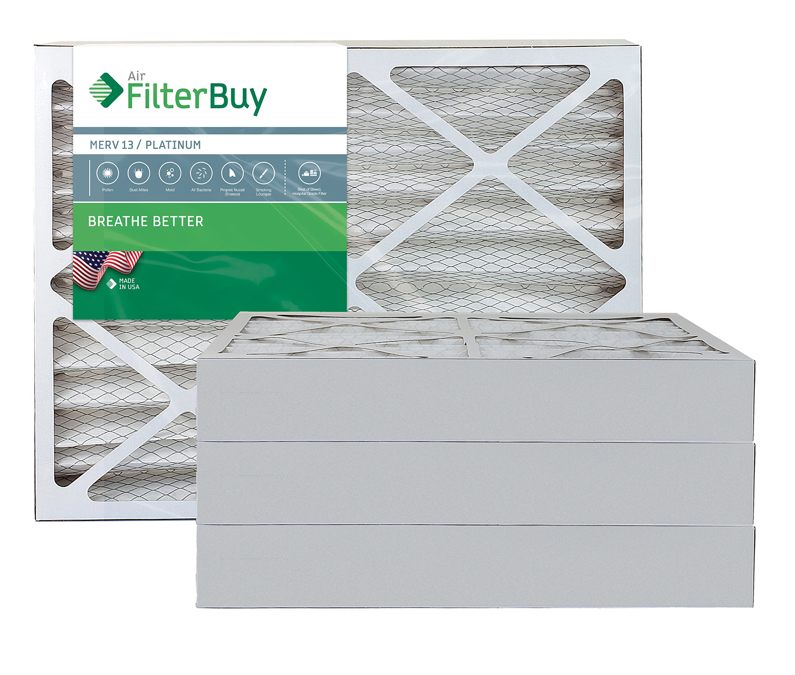 AFB Platinum MERV 13 20x23x4 Pleated AC Furnace Air Filter. Pack of 4 Filters. 100% produced in the USA.