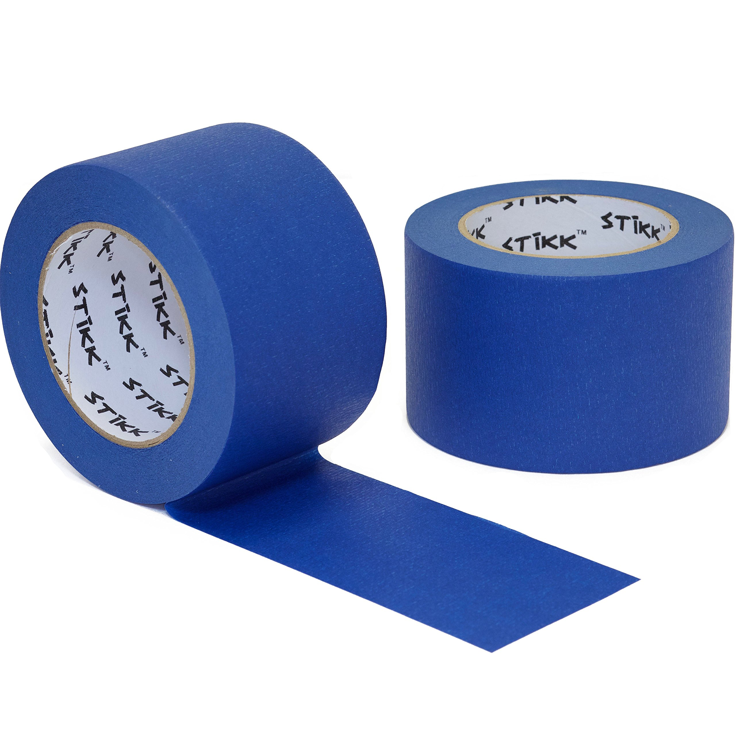 2pk 3'' x 60yd STIKK Blue Painters Tape 14 Day Clean Release Trim Edge Finishing Masking Tape (2.82 IN 72MM)