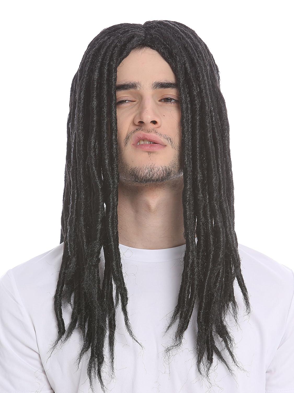 WIG ME UP ® - 91587-ZA103 Perruque Dame Homme Carnaval Dreadlocks Rasta Reggae Rastafari Hippie des plages Dreads Noires Longues