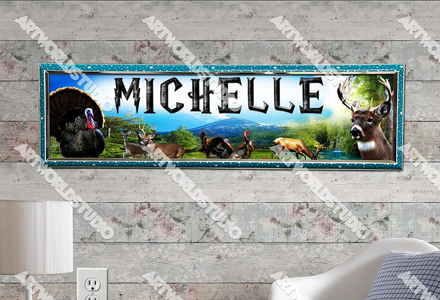 "Animal Zoo Poster 30/"" x 8.5/"" Personalized Custom Name Painting Printing"