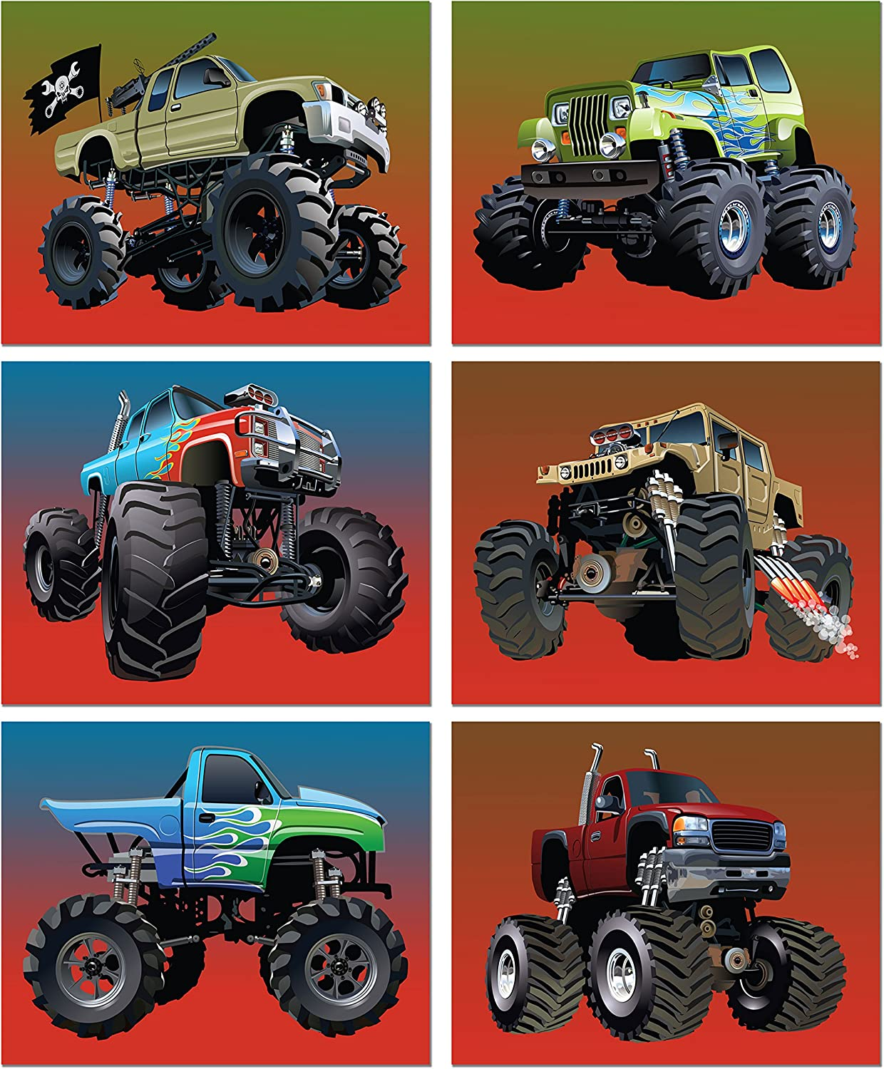 Monster Truck Poster Prints - Set of 6 (8 inches x 10 inches) Photos - Kids Wall Art Decor