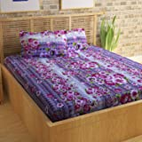 Story@Home 100% Cotton Bed Sheet for Double Bed with 2 Pillow Covers Set, Candy Queen Size Bedsheet Series, 120 TC, Paisley and Roses Pattern, Pink