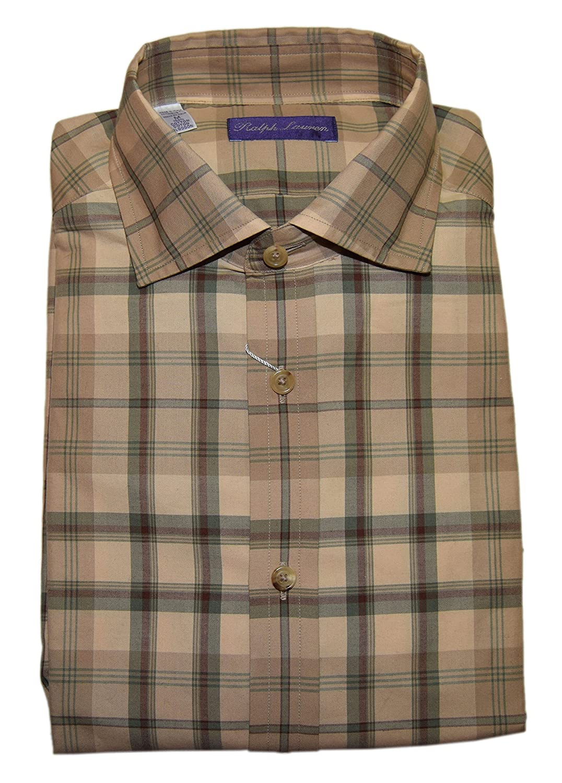 Ralph Lauren Polo Purple Label Mens Brown Green Plaid Dress Shirt