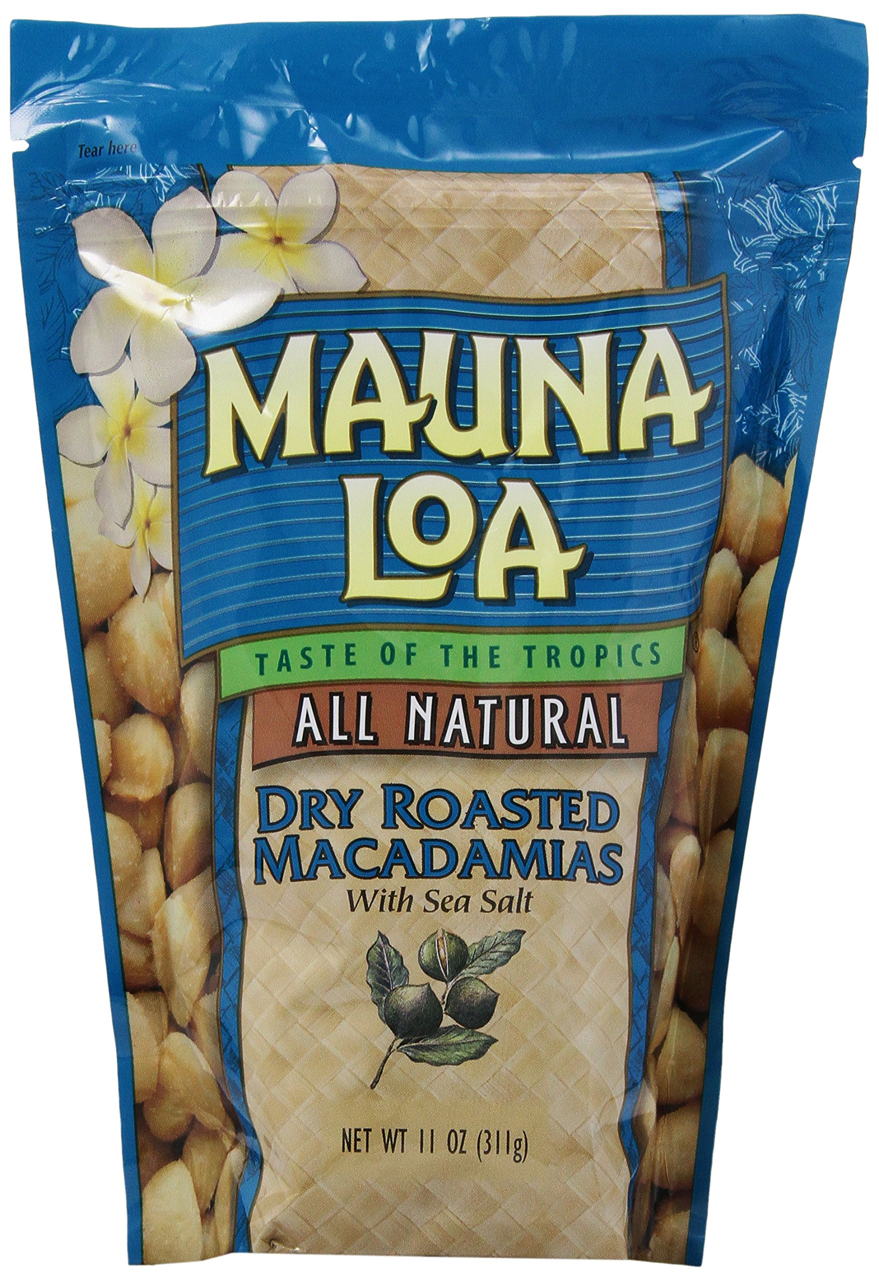 Hawaiian Mauna Loa Dry Roasted Macadamia Nuts & Sea Salt 11 Oz. Bag