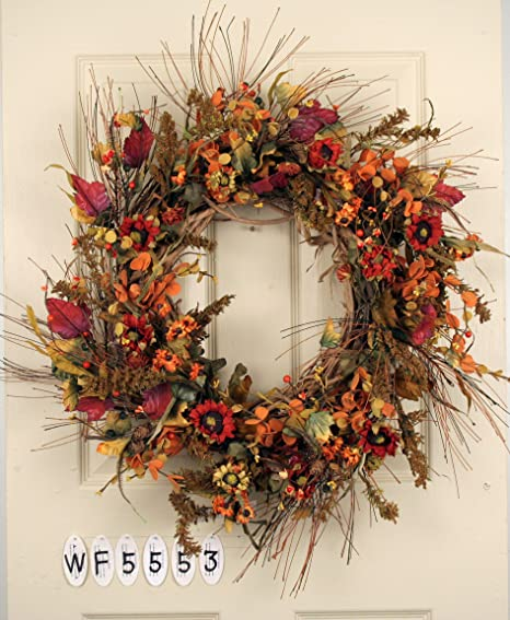 Amazon Com Season Flower Mixed Fall Floral Wreath Home Kitchen