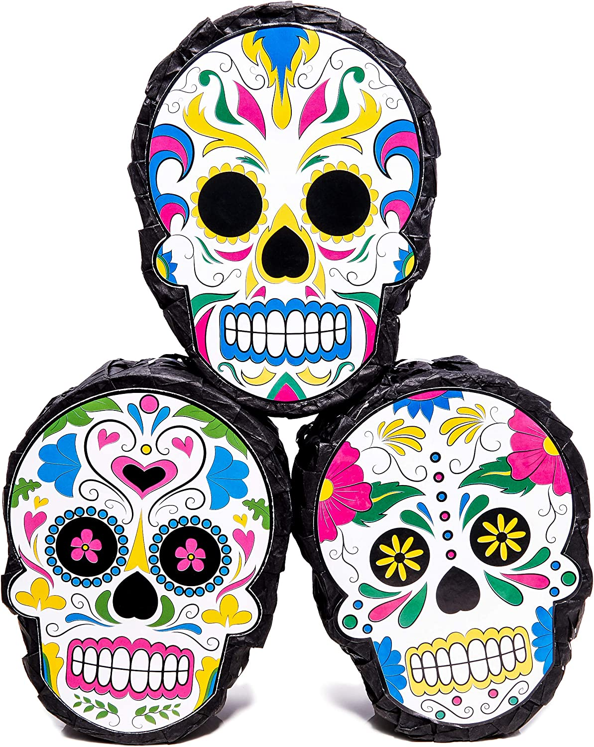 Fiesta Parties Mexican Party Supplies for Cinco De Mayo and Day of The Dead 4 x 7 x 2 Inches Blue Panda 3-Pack Sugar Skull Mini Pinatas