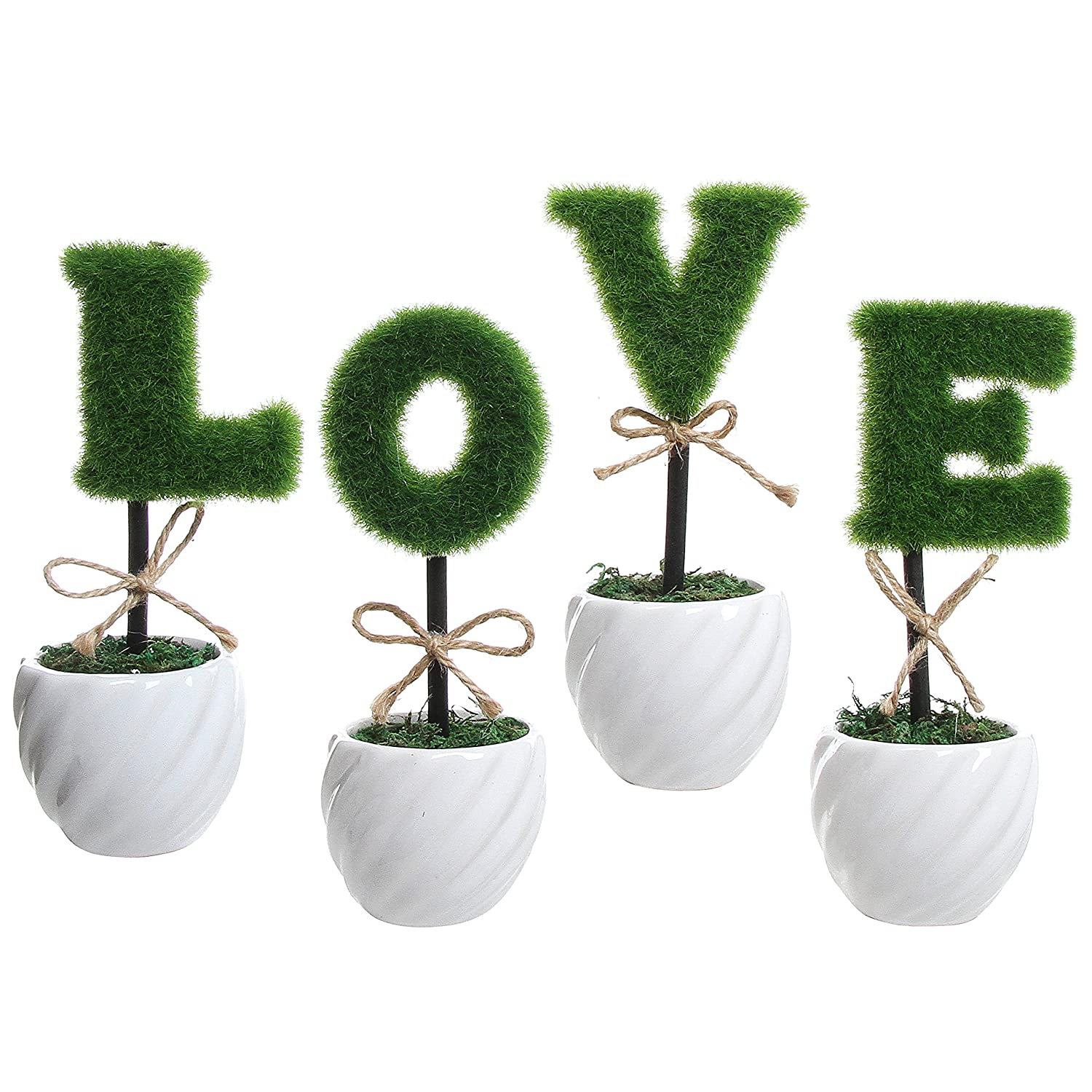 MyGift LOVE Artificial Sculpted Topiary Set, Decorative Faux Hedge Letters with Red Ceramic Pots TB-DECO0311RED