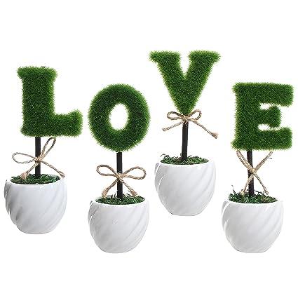 Amor decoración verde artificial de cobertura de cerámica color blanco planta Set/juego de 4