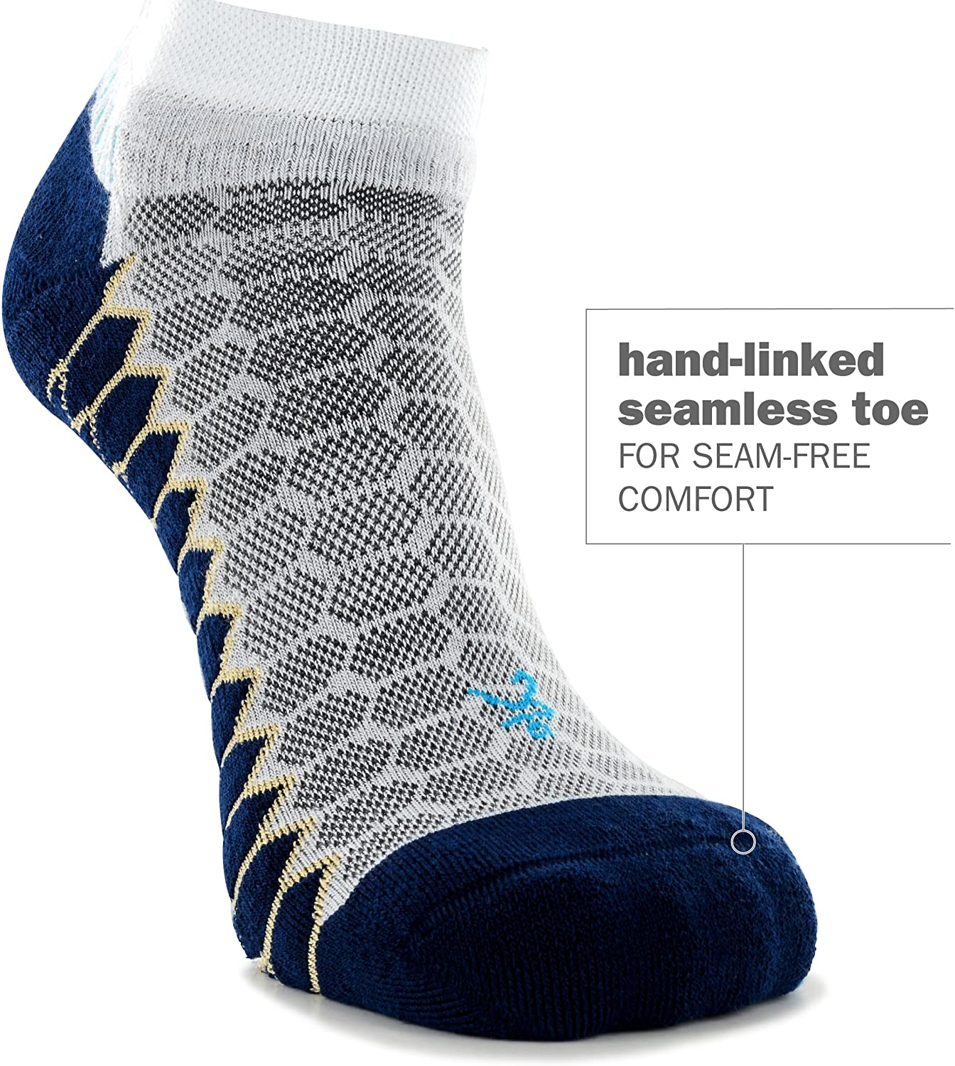 Legion Blue//Grey Balega Silver Antimicrobial No-Show Compression-Fit Running Socks for Men and Women 1 Pair Large