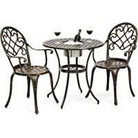 Best Choice Products Cast Aluminum Patio Bistro Table Set with Ice Bucket