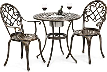 Best Choice Products Cast Aluminum Patio Bistro Table Set
