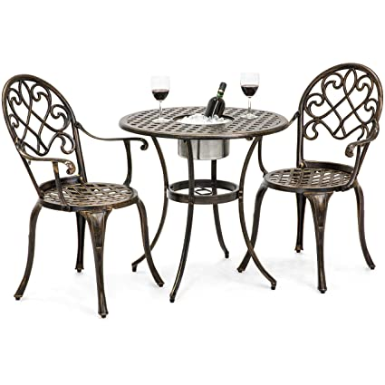 Best Choice Products Cast Aluminum Patio Bistro Table Set w/Attached Ice  Bucket, 2 - Amazon.com: Best Choice Products Cast Aluminum Patio Bistro Table