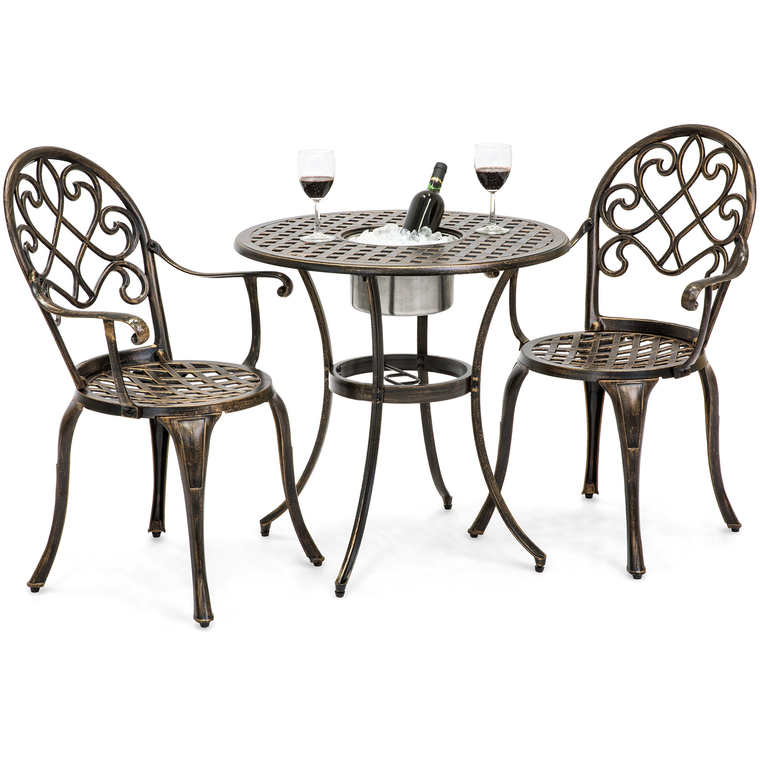 Best Choice Products Cast Aluminum Patio Bistro Table Set w/Attached Ice Bucket, Chairs (Copper)