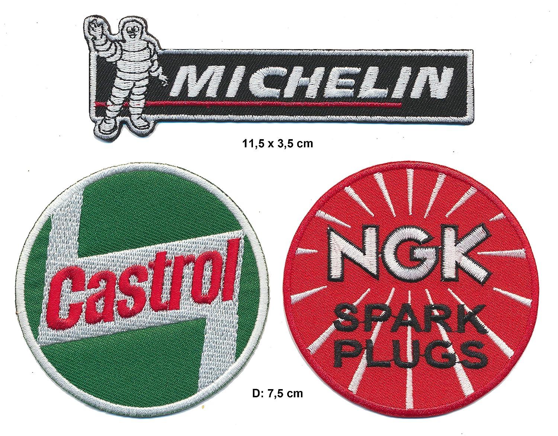 Racing Classics Parches para Coche Castrol Michelin NGK para Deportes de Motor Carreras 3 Unidades
