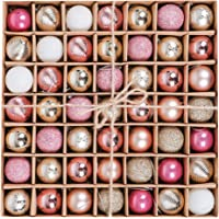 "Valery Madelyn 49ct 1.18""/30mm Plastic Christmas Ball Ornaments for Xmas Holiday Wedding Party Indoor Outdoor Tree Shatterproof Small Fantasy Table Decorations Gift,49 Pcs Hooks Included"