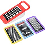 Vremi 5 Piece Cheese Grater Set with Container - Microplane Zester Parmesan Cheese Shredder Vegetable Slicer Cheese Graters - Fine and Coarse Metal Hand Cheese Grater Adjustable Hard Cheese Slicer