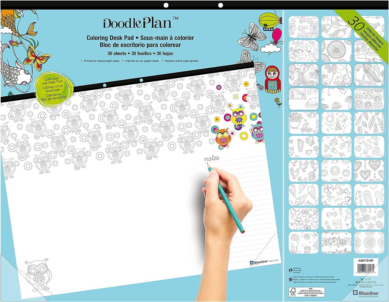 Blueline Doodle Plan Coloring Desk Pad, Multiplicity Design, 22 x 17 (A2917312P)