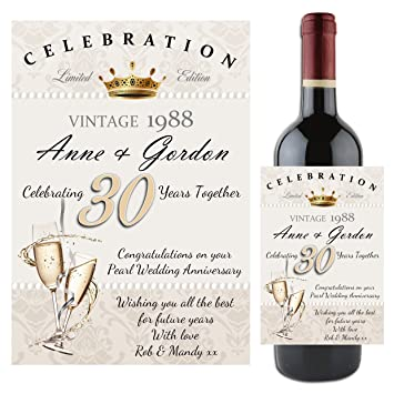 Personalised 30th Pearl Wedding Anniversary WINE CHAMPAGNE BOTTLE ...