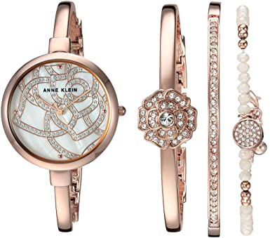 cbee9353fd8 Amazon.com  Anne Klein Women s AK 3080RGST Swarovski Crystal Accented Rose  Gold-Tone Bangle Watch and Bracelet Set  Watches