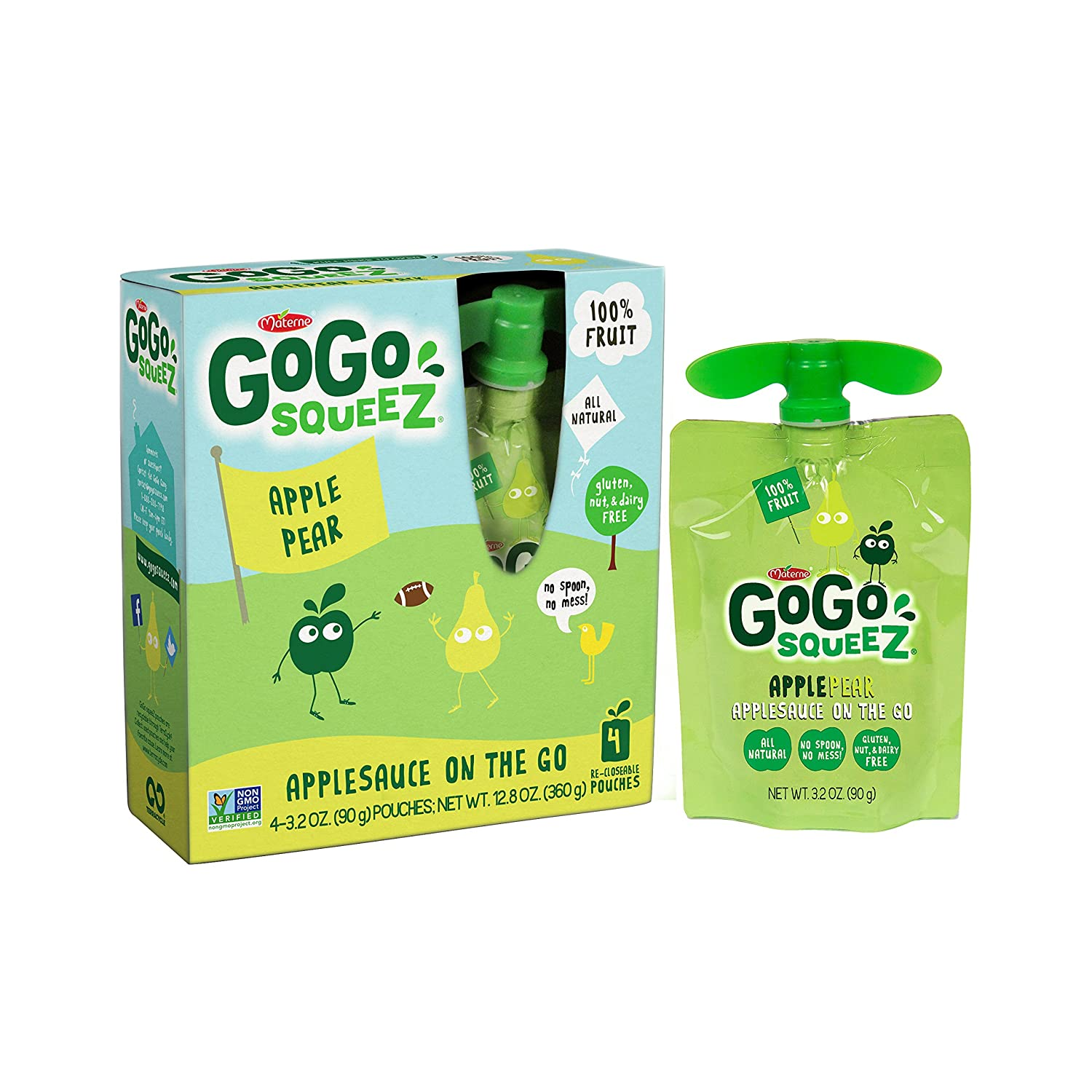 GoGo squeeZ Applesauce on the Go, Apple Pear, 3.2 Ounce Portable BPA-Free Pouches, Gluten-Free, 4 Total Pouches