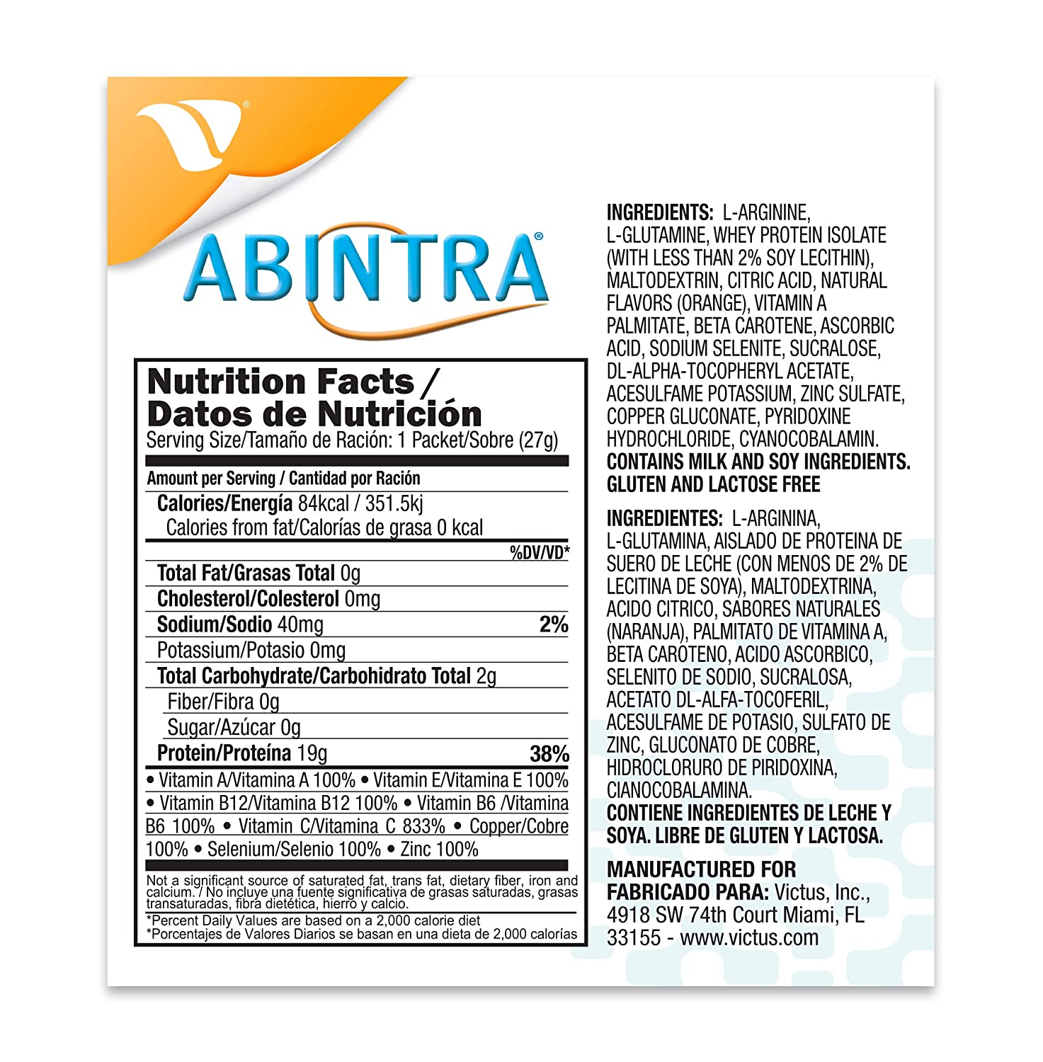 Amazon.com: ABINTRA Specialized Nutrition for Wound Healing Powder, Orange. 6 Packets. 27g Each: Health & Personal Care