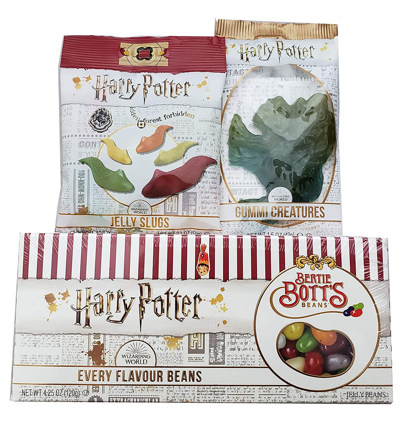 Harry Potter Bertie Bott's Every Flavour Beans Gift Box 4.25 Oz., Gummi Creature and Jelly Slugs (3 Pack)