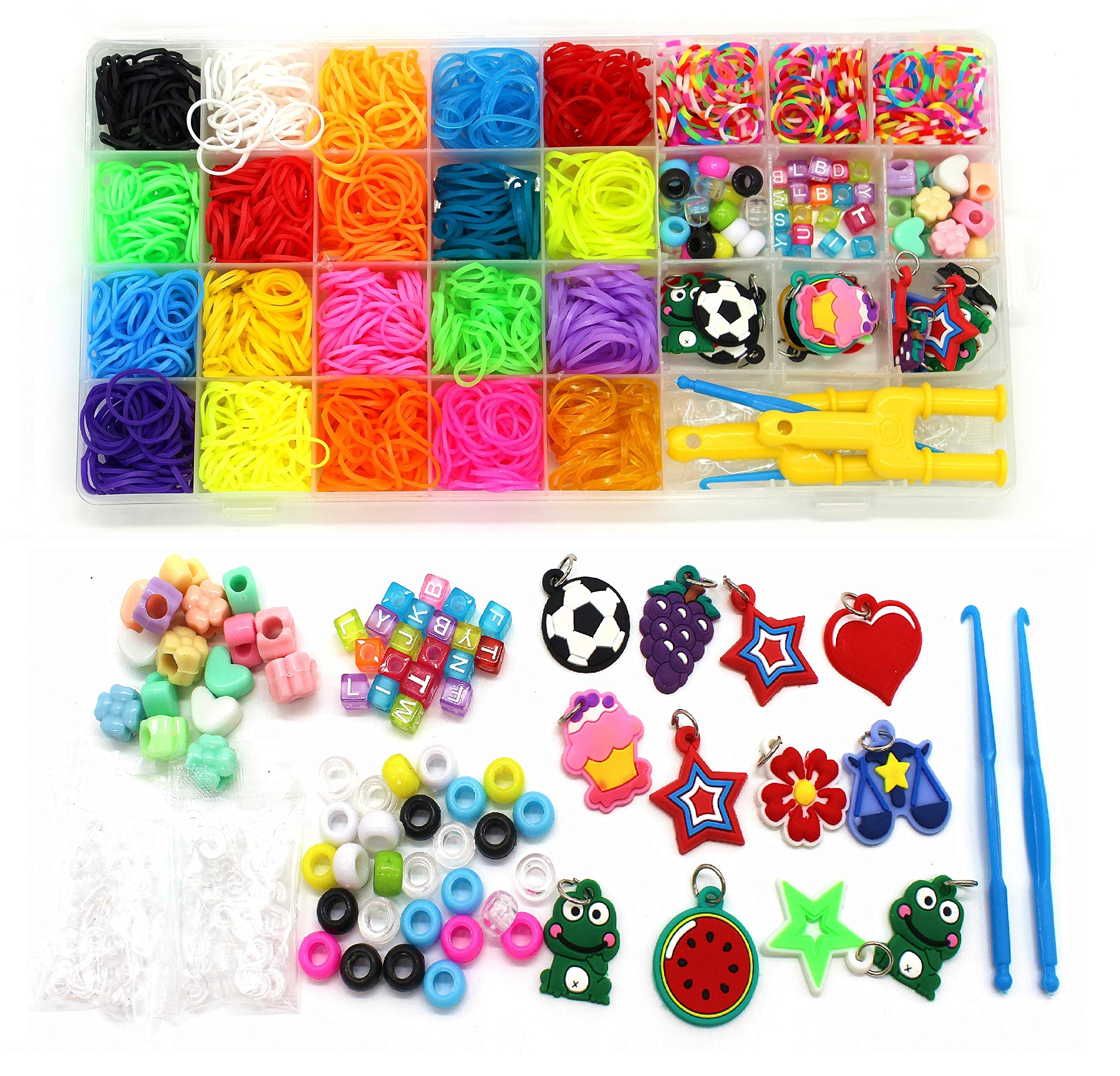 Rainbow Rubber Bands Refill Kit-Assorted Colors Loom Bands(2000+)-24 S-Clips, 2 Y Looms, 60 Beads, 10 Charms, 2 Backpack Hooks,Crochet Hooks-loom bands Add On Accessories-Bracelet Making Kit For Kids by Wakestar