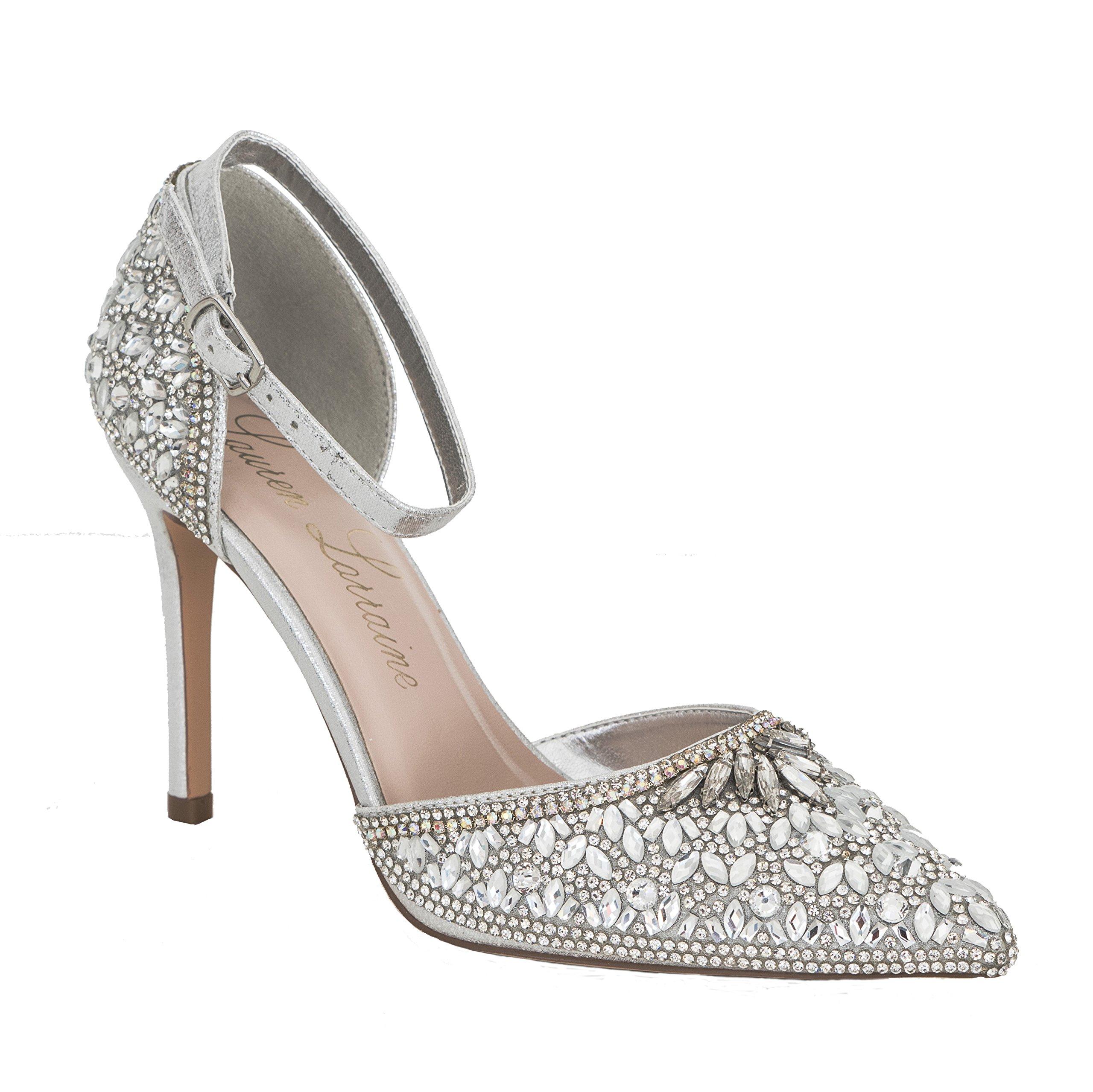 Lauren Lorraine Rose Crystal Women's Evening Dress Rosegold High Heel Ankle Strap D'Orsay Pointed Toe Wedding Pump Silver Size 9.5
