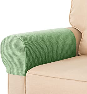 CHUN YI Set of 2 Stretch Sofa Armrest Covers Armchair Slipcovers, Anti-Stain Anti-Slip Washable Furniture Protector for Chairs and Sofas with Free Pins(2pcs, Light Green)