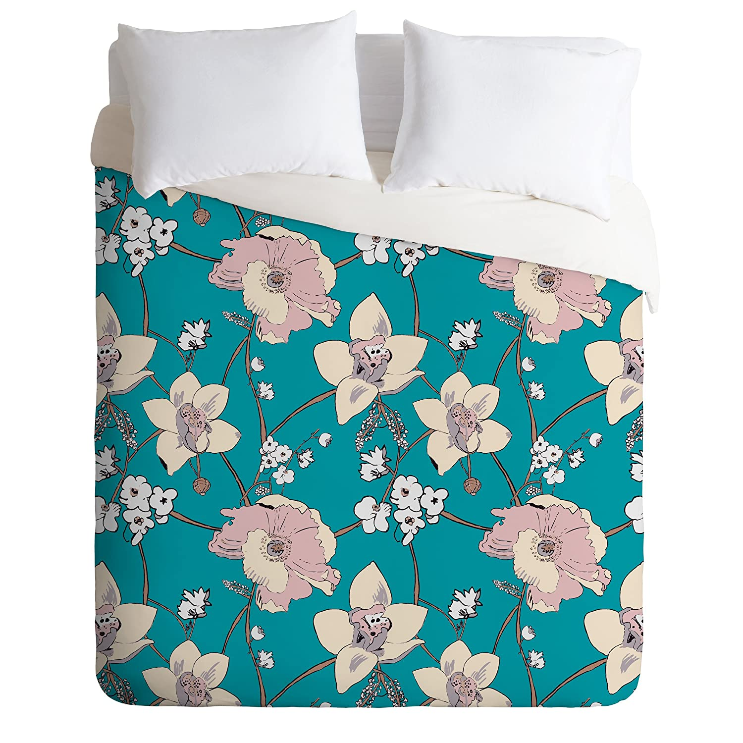 Deny Designs Rachelle Roberts Painted Poppy In Turquoise Duvet Cover, Queen 50953-dliqun