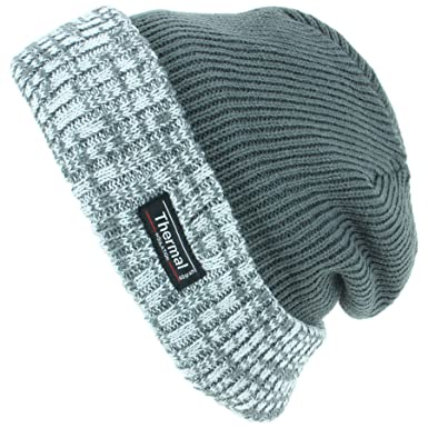 d89585182c44b Thinsulate Fine Knit Beanie Hat with Thermal Lining and Marl Turn-up - Green   Amazon.co.uk  Clothing