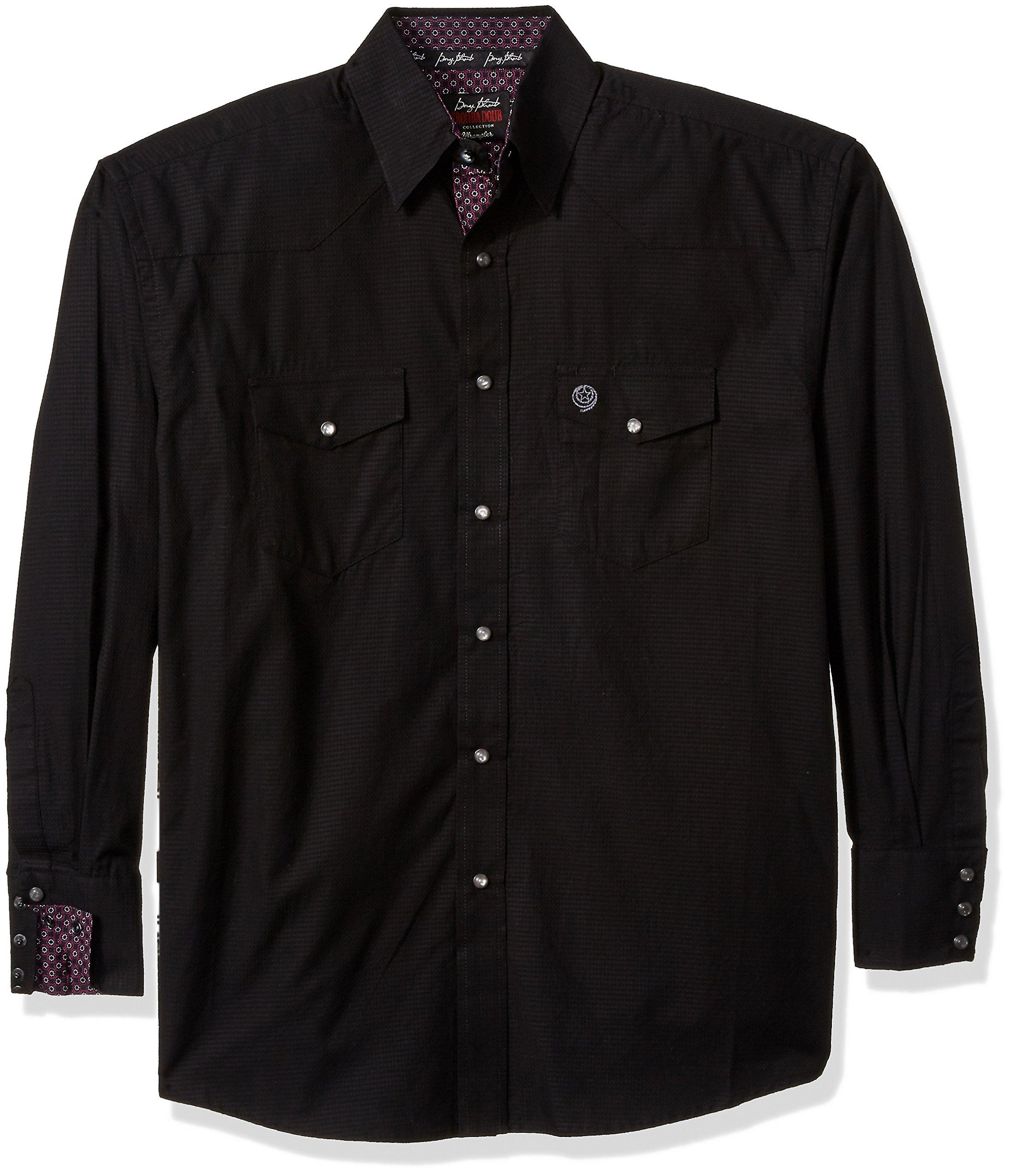 Wrangler Men's George Strait Troubadour Two Pocket Shirt, Black, M