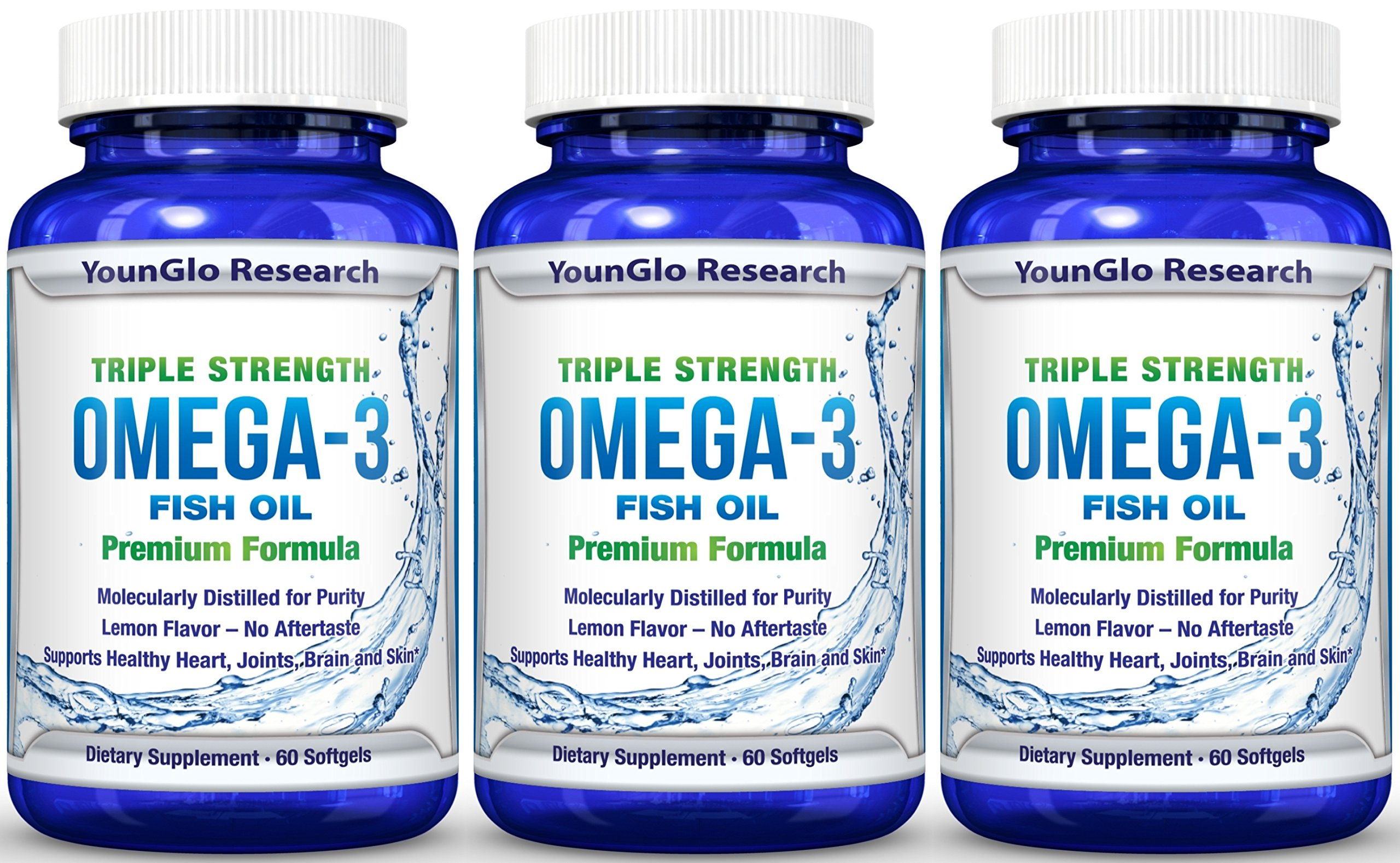 Fish Oil Pills - Pharmaceutical Quality - Triple Strength Omega 3 Burpless Capsules (3 Pack)