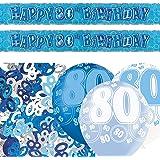 Unique BPWFA-4155 Glitz 80th Birthday Foil Banner Party Decoration Kit, Blue